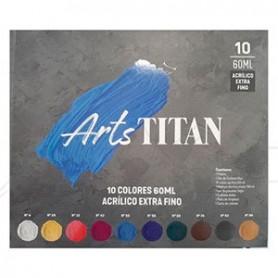 Maletín de madera Titán Arts extra fino acrílico 60ml - 10 colores